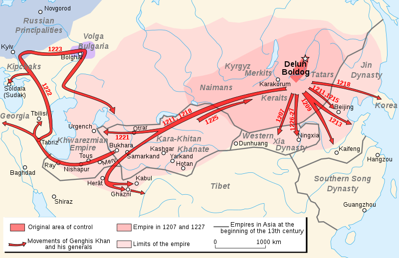 Map image and movement of Genghis Khan